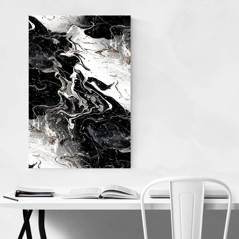 Black Marble Abstract Painting Canvas Art Print