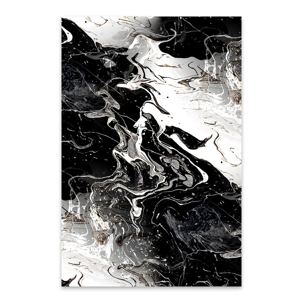Black Marble Abstract Painting Metal Art Print