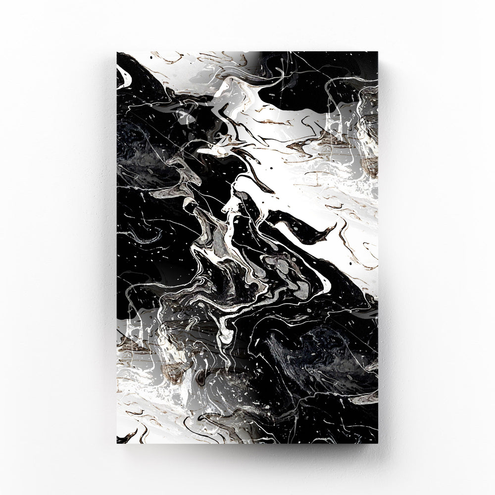 Black Marble Abstract Painting Mounted Art Print