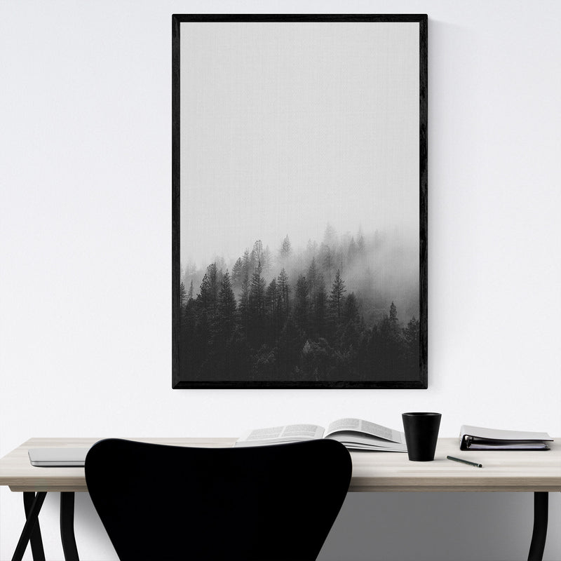 Fog Pine Trees Forest Woods Framed Art Print