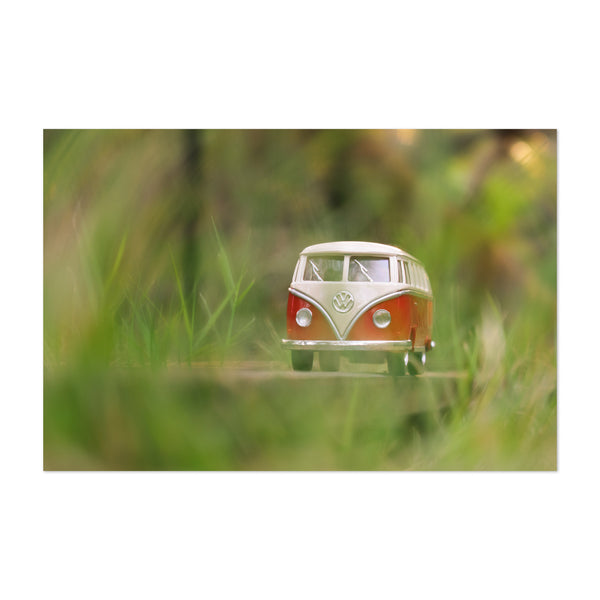 VW Van Travel Camping Green Art Print