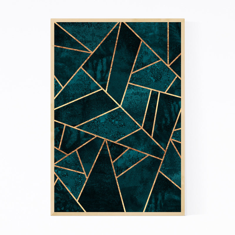 Blue Abstract Geometric Nature Framed Art Print