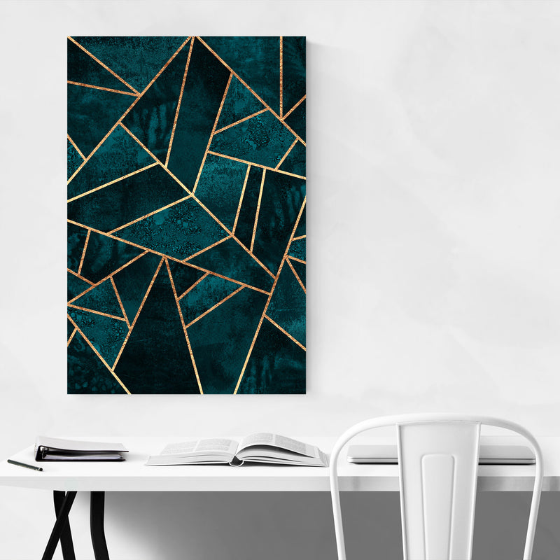 Blue Abstract Geometric Nature Canvas Art Print