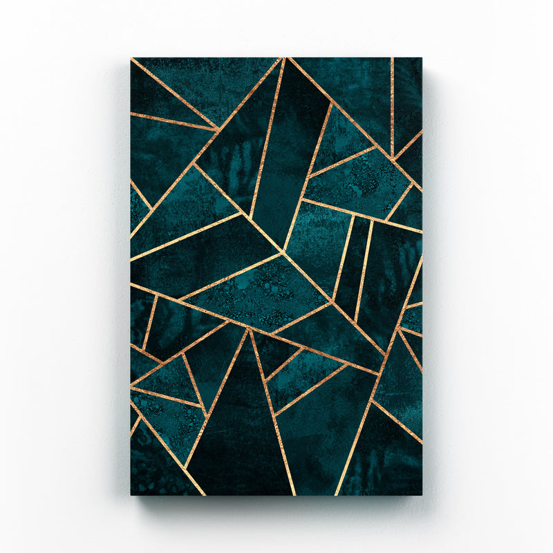 Blue Abstract Geometric Nature Mounted Art Print