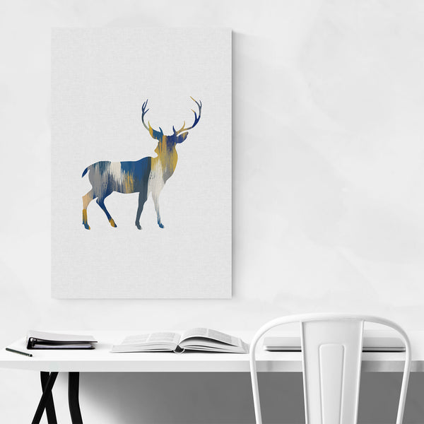 Blue Deer Buck Abstract Animal Art Print