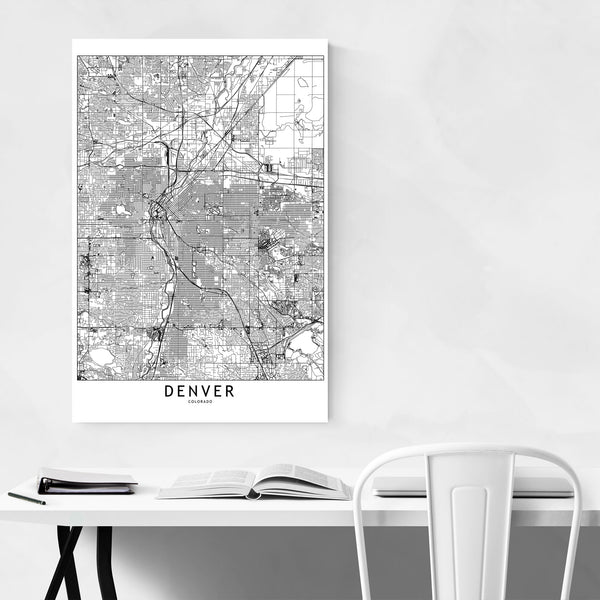 Denver Black & White City Map Art Print