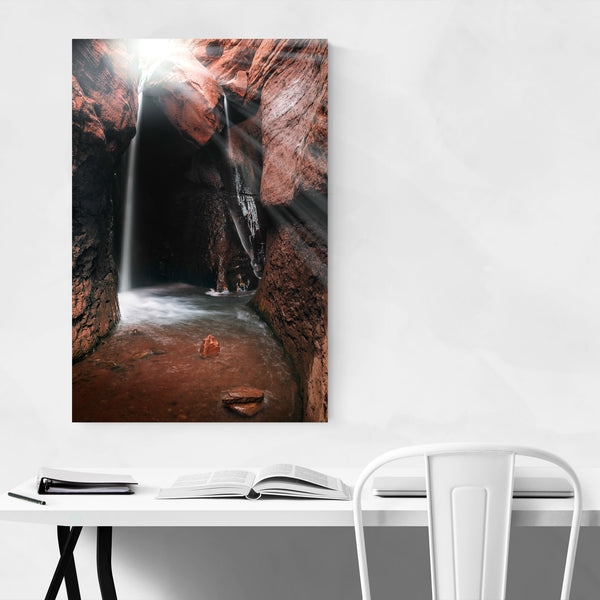 Waterfall Slot Canyon Moab Utah Art Print