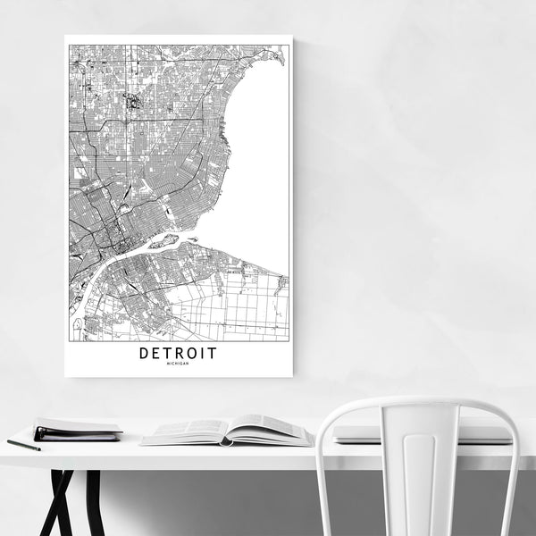 Detroit Black & White City Map Art Print