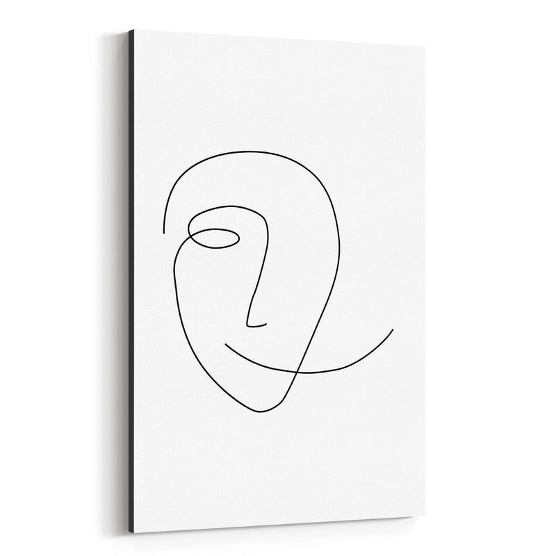 Scandinavian Smile Line Drawing Canvas Art Print