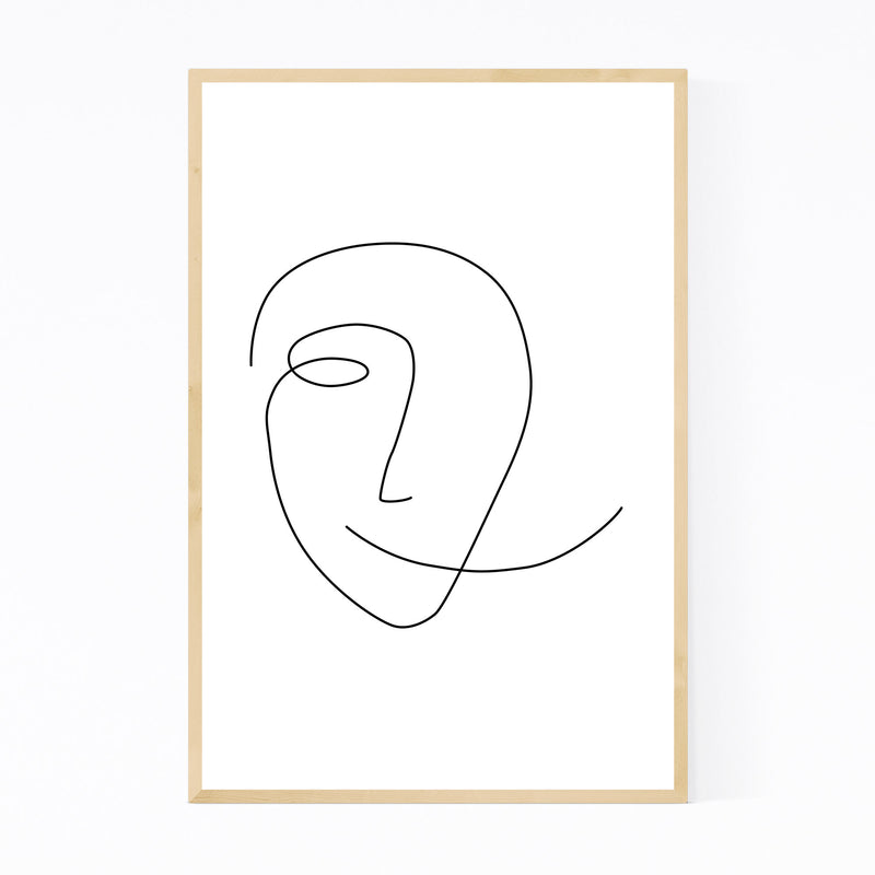 Scandinavian Smile Line Drawing Framed Art Print