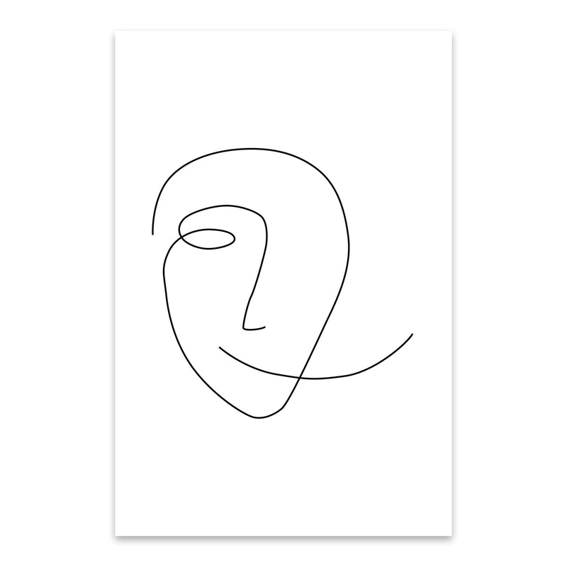 Scandinavian Smile Line Drawing Metal Art Print