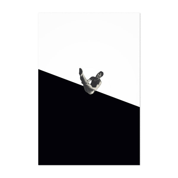 Black Abstract Swimming Diver Art Print