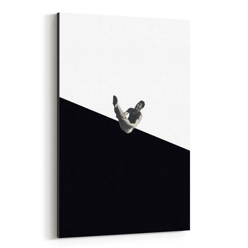 Black Abstract Swimming Diver Canvas Art Print