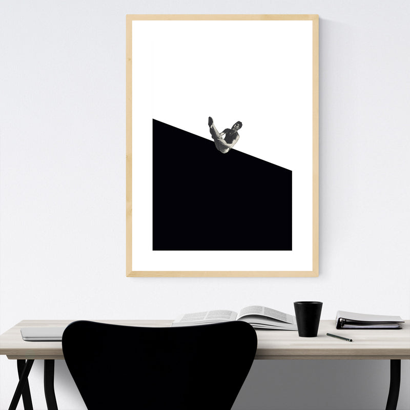 Black Abstract Swimming Diver Framed Art Print