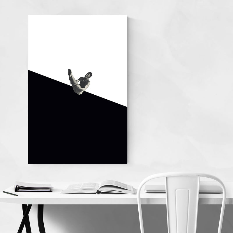 Black Abstract Swimming Diver Metal Art Print