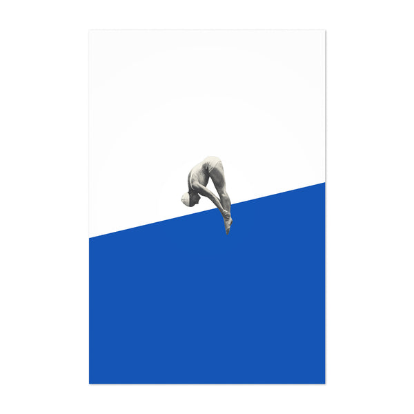 Blue Abstract Swimming Diver Art Print