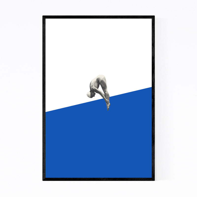 Blue Abstract Swimming Diver Framed Art Print