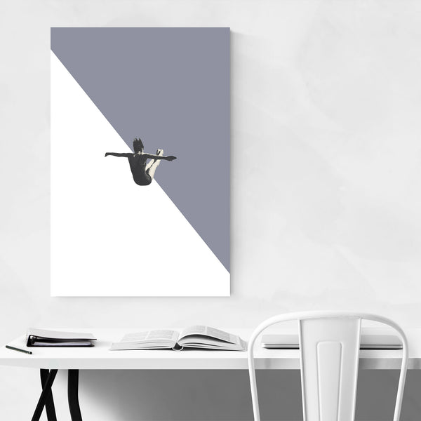 Grey Abstract Swimming Diver Art Print