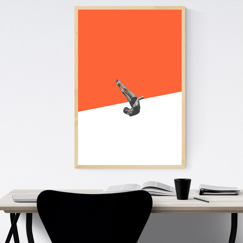 Orange Abstract Swimming Diver Framed Art Print