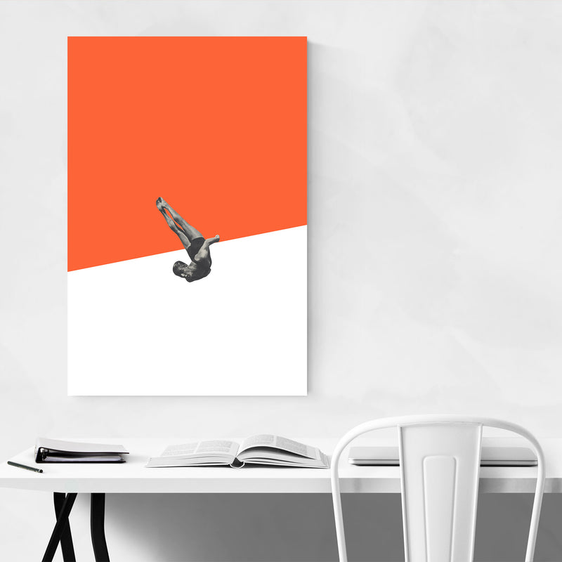 Orange Abstract Swimming Diver Metal Art Print