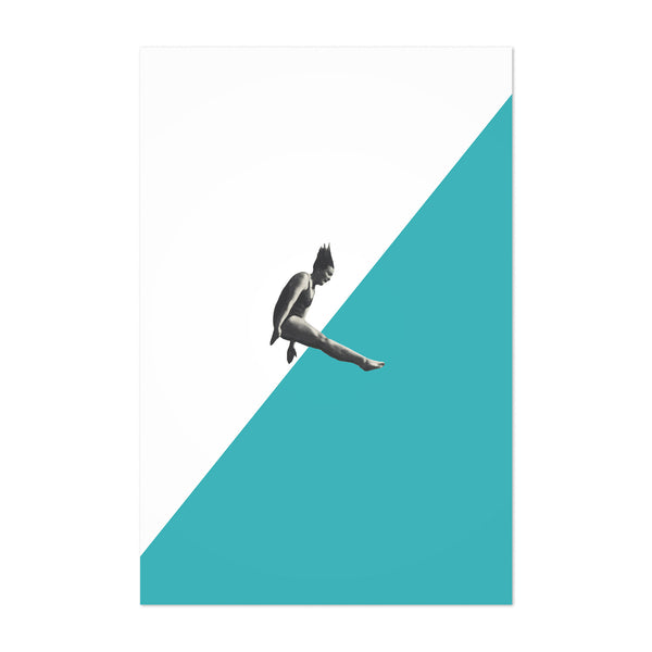 Turquoise Abstract Swim Diver Art Print