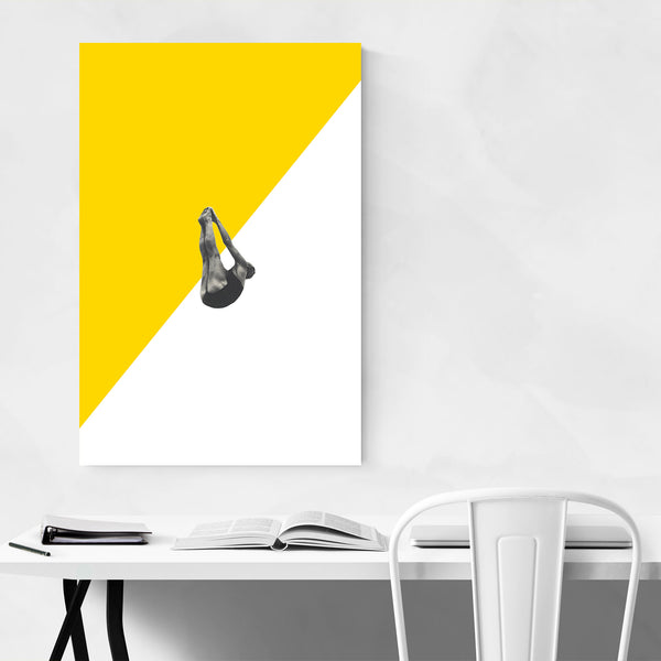 Yellow Abstract Swimming Diver Art Print