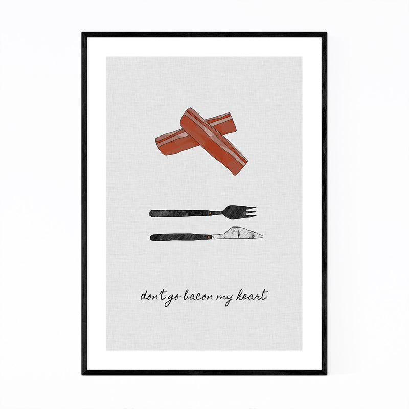 Cute Bacon Kitchen Typography Framed Art Print