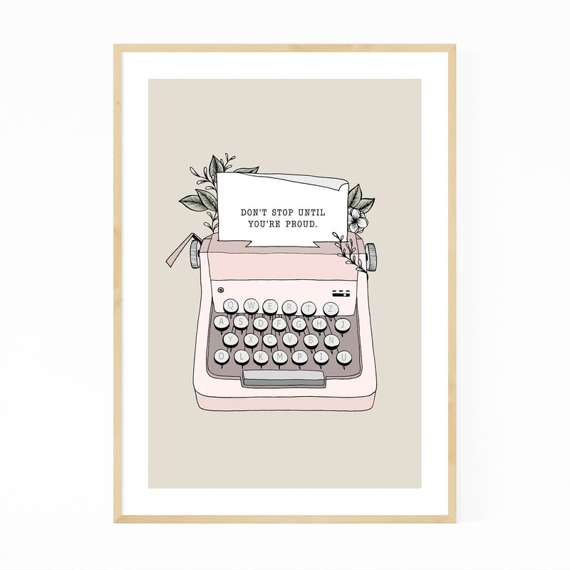 Typewriter Motivational Quote Framed Art Print