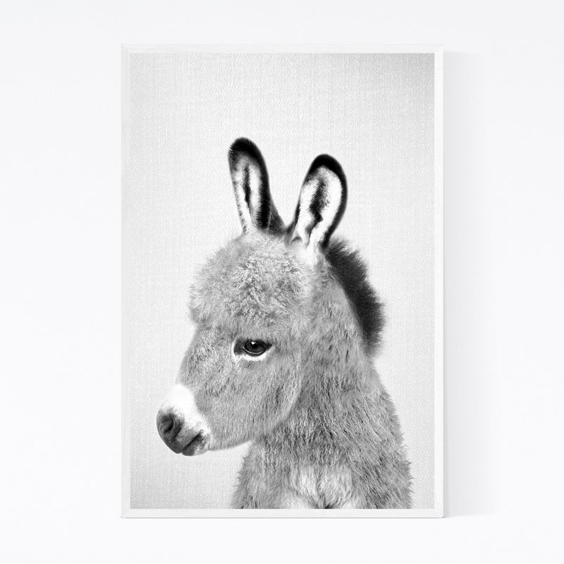 Donkey Peekaboo Nursery Animal Framed Art Print