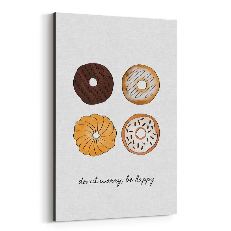 Cute Donut Kitchen Typography Canvas Art Print