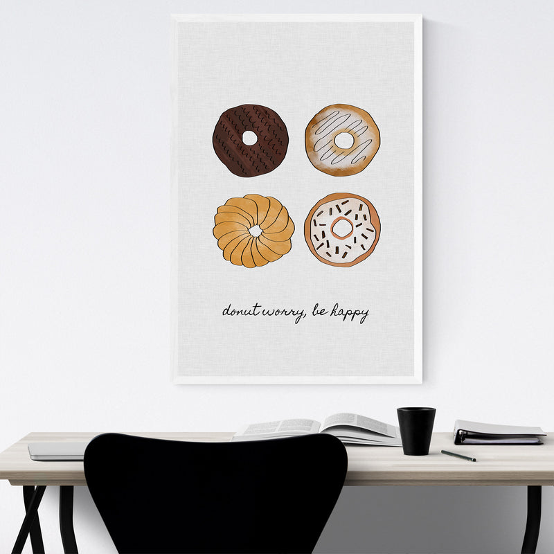 Cute Donut Kitchen Typography Framed Art Print