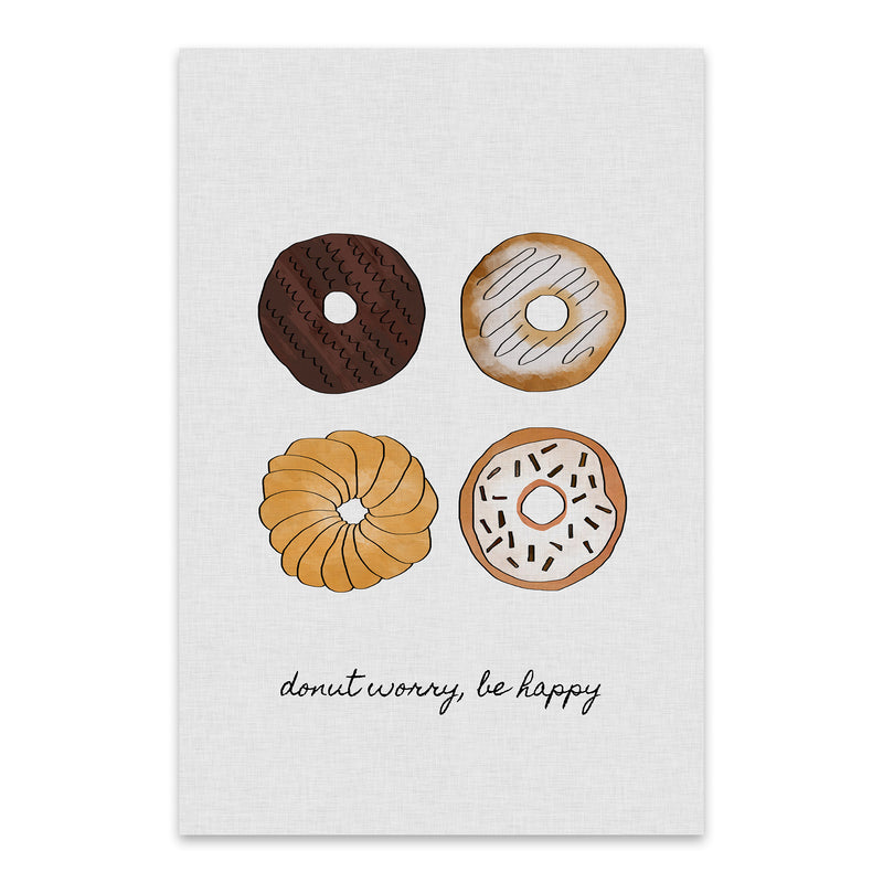 Cute Donut Kitchen Typography Metal Art Print