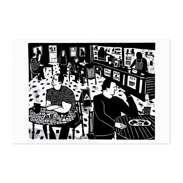 Linocut Print Cafe North England Art Print