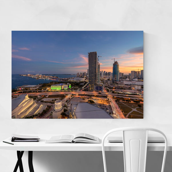 Downtown Miami Skyline Sunset Art Print