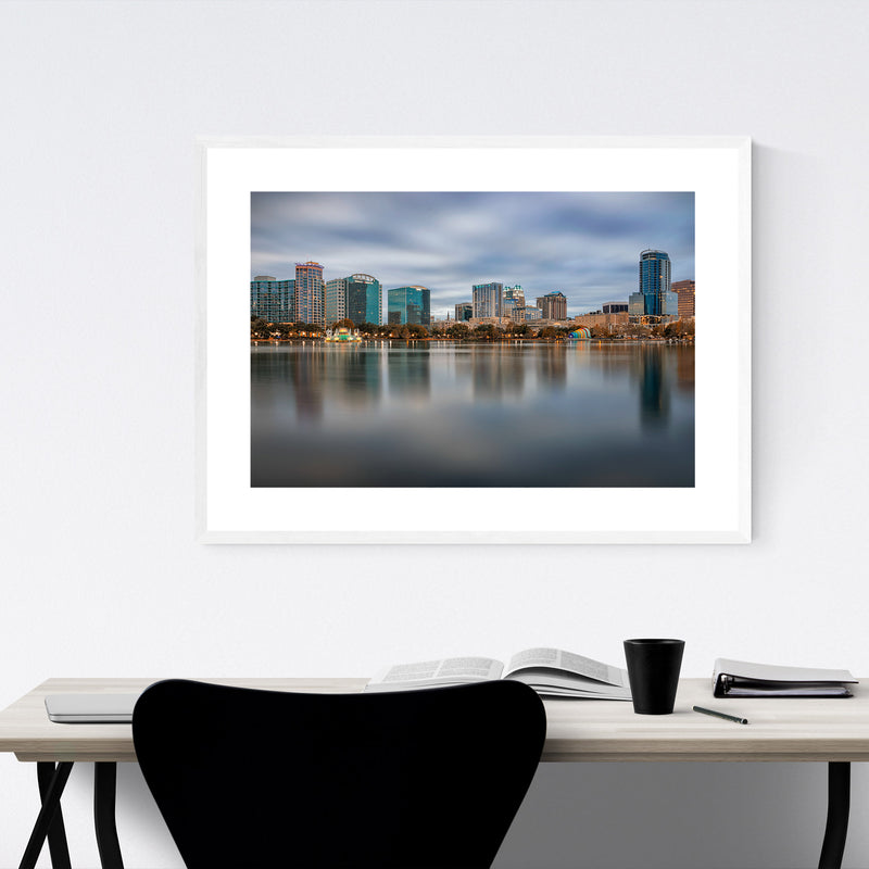 Orlando Florida City Skyline Framed Art Print