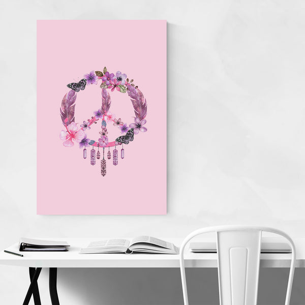 Pink Dreamcatcher Peace Floral Art Print
