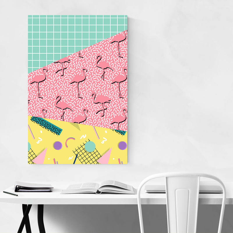 Retro Abstract Neon 80's Pattern Metal Art Print