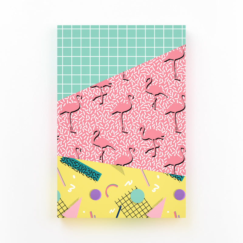 Retro Abstract Neon 80's Pattern Canvas Art Print