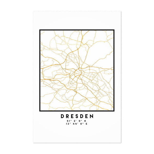 Minimal Dresden City Map Art Print