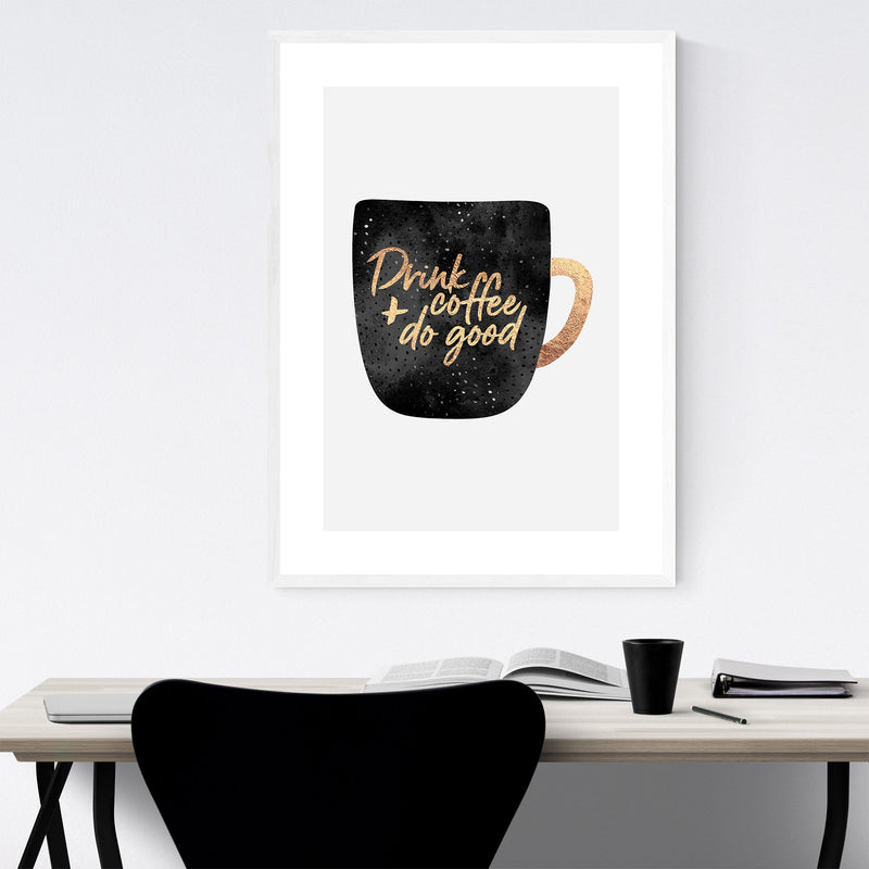 Kitchen Coffee Decor Typography Framed Art Print