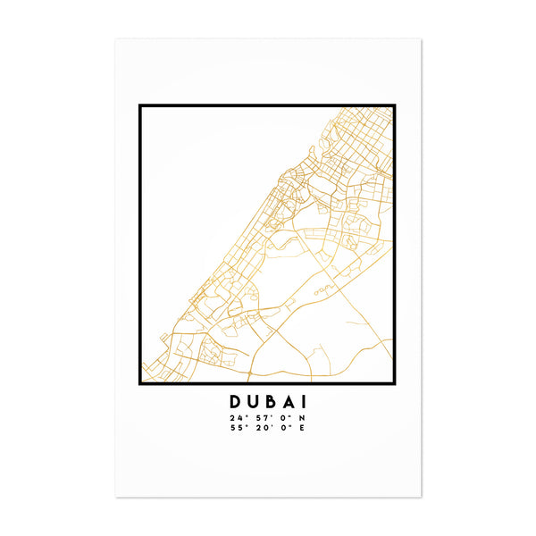 Minimal Dubai City Map Art Print