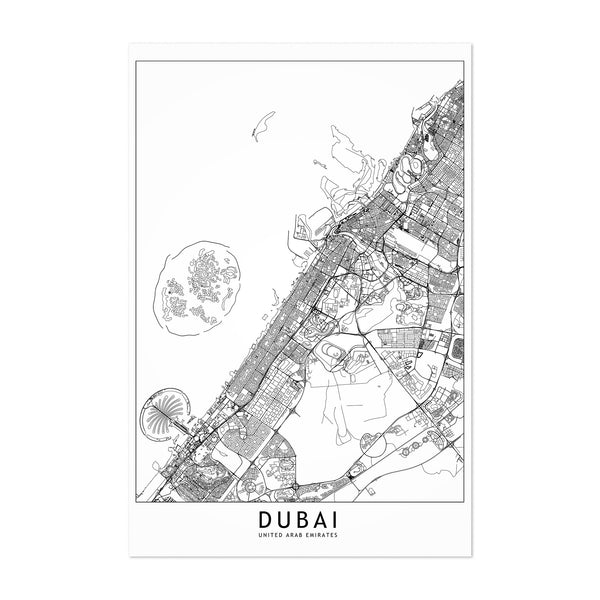 Dubai Black & White City Map Art Print
