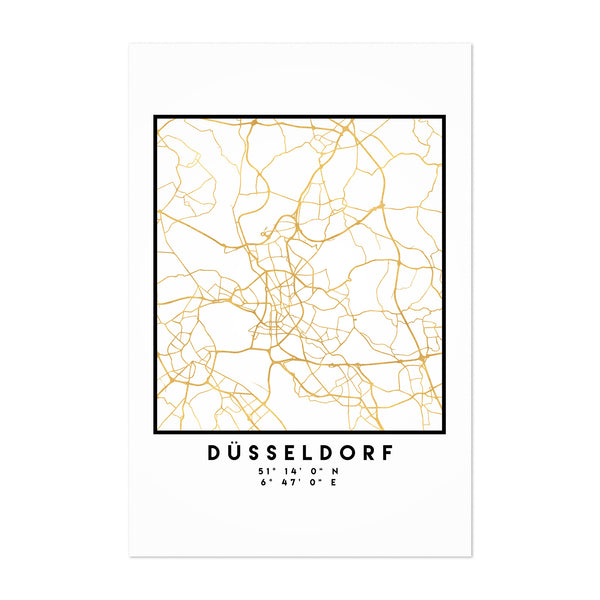 Minimal Dusseldorf City Map Art Print