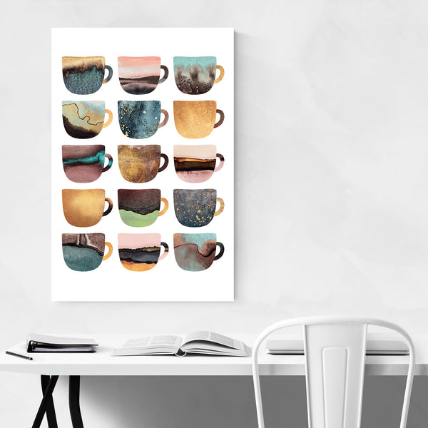 Cute Kitchen Decor Coffee Cups Art Print