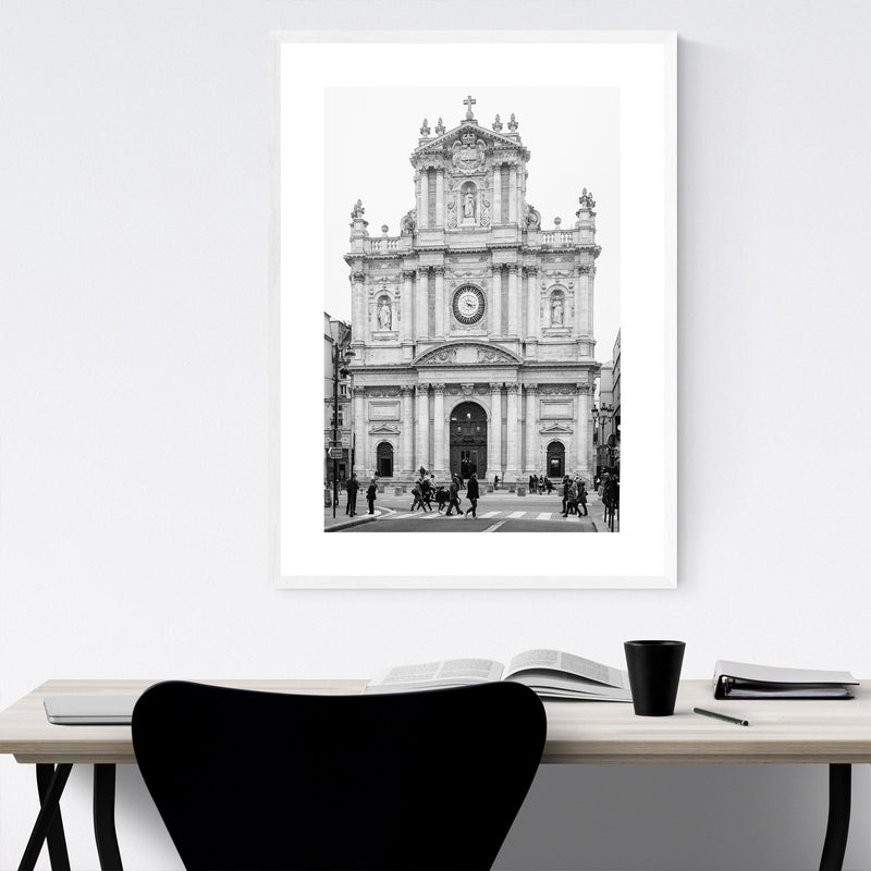 Black & White Paris France Photo Framed Art Print