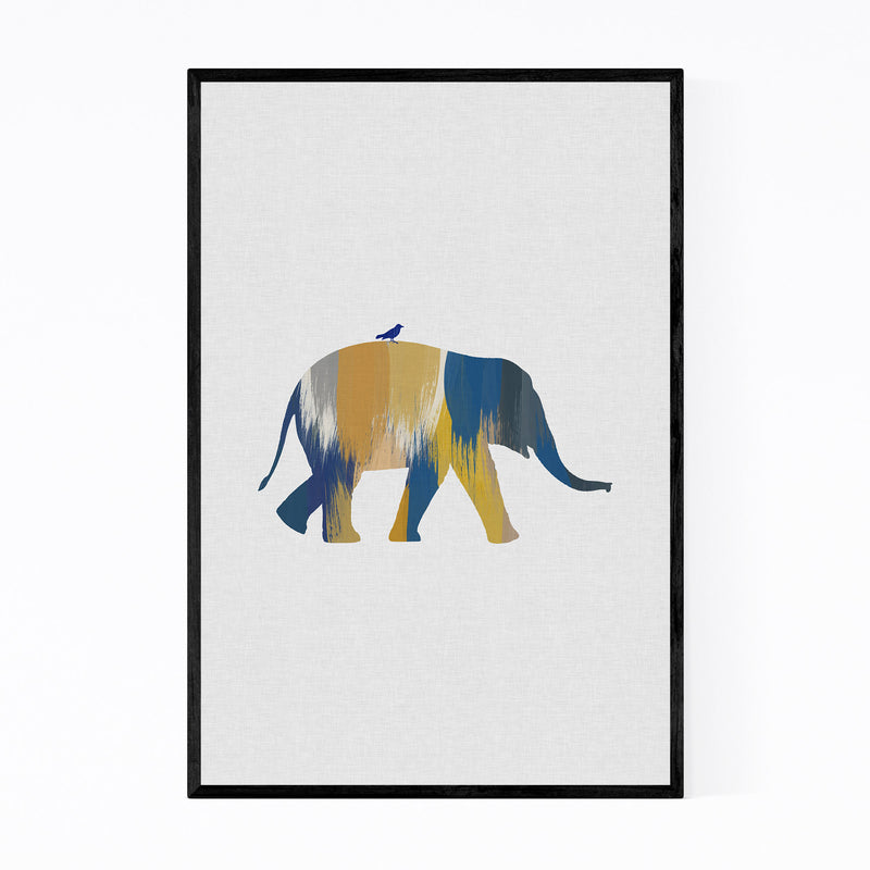 Abstract Blue Elephant Animal Framed Art Print
