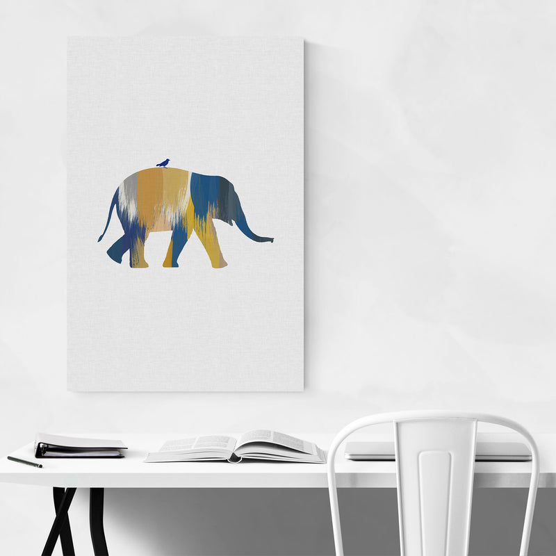Abstract Blue Elephant Animal Art Print