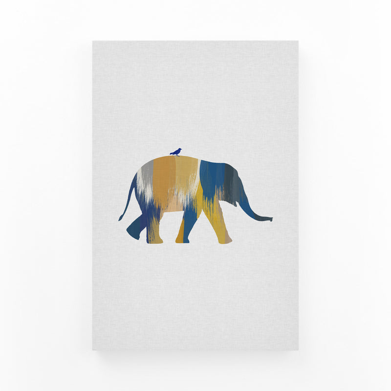 Abstract Blue Elephant Animal Canvas Art Print