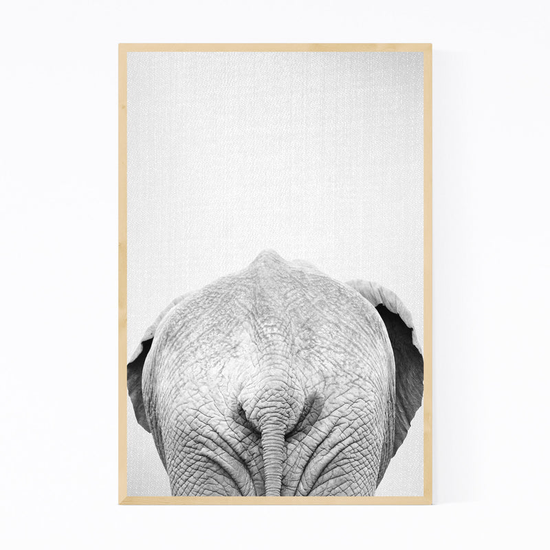 African Elephant Peekaboo Animal Framed Art Print