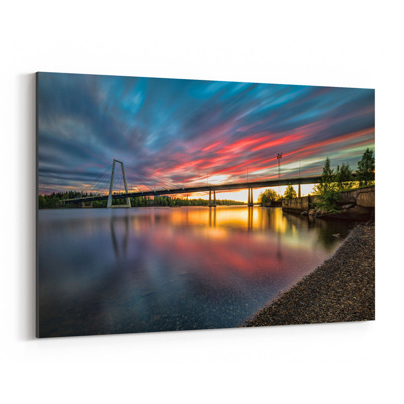 Sunset Modern Bridge Umea Sweden Canvas Art Print